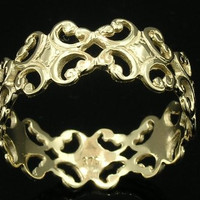 LOVELY 9ct Solid Yellow Gold Filigree FULL Eternity Ring Wedding Band