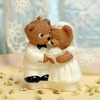 Bear Bride And Groom Wedding Candle Cake