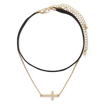 Velvet Cross Charm Necklace Set
