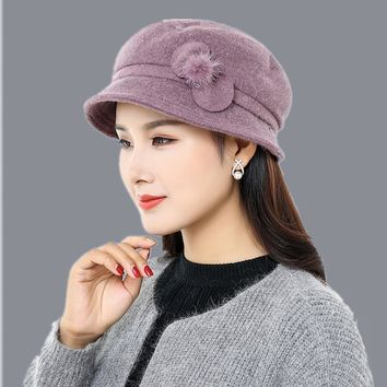 Winter scarf Hat Berets 2017 New Wool Cashmere Womens Warm Brand Casual High Quality Women's Vogue Knitted Hats For Girls Cap