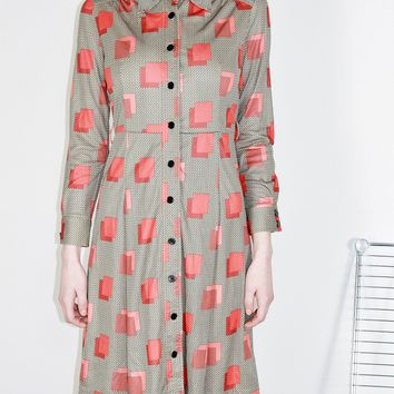 70s Geometric Button Through Dress  / XS S