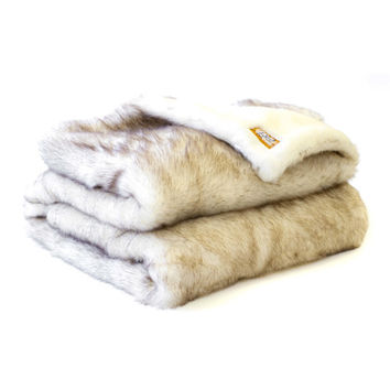 Posh Pelts Arctic Fox Faux Fur Throw Blanket