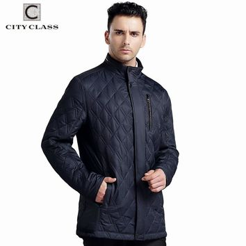 CITY CLASS NEW Mens Autumn Jackets And Coats Business Leisure Slim Fit Stand Collar Cotton Clothing Plus Size Quilted 14019