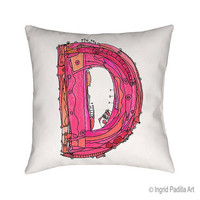 Whimsical, Letter, D, Pillow, Decorative, monogram pillow, Illustration, funky, typography, Alphabet, Art, Printed fabric, Ingrid Padilla