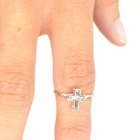 Cross My Finger Gold or Silver Mid Finger Knuckle Ring