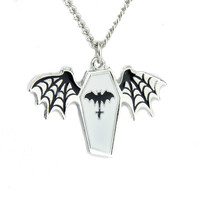 Vampire Bat Spiderweb Wings White Coffin Pendant Necklace