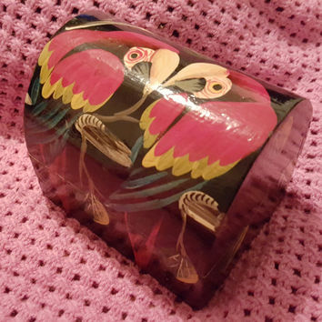 Hand Painted Wooden Jewelry / Trinket / Vanity Box With Black Background and Two Colorful Red, Green and Yellow Parrots