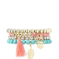 Beaded Stretch Charm Bracelets - 4 Pack by Charlotte Russe - Multi