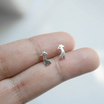 925 Sterling Silver Giraffe Stud Earrings - Tiny Animal Post Earrings - Animal Earrings - Giraffe Jewelry - Children's Jewelry, gift for her