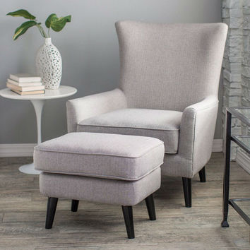 Gray Wool Blend Upholstered Mid-Century Arm Chair & Ottoman