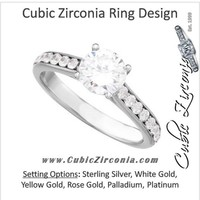 Cubic Zirconia Engagement Ring- The Stacey Michelle (Round with Pave Band & Peeekaboo Bezel Accents)