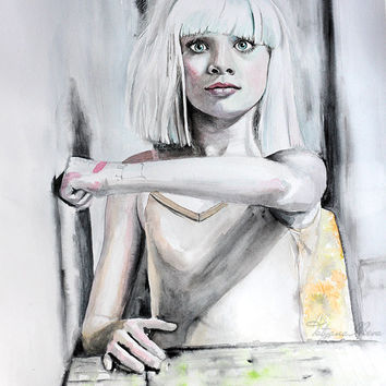 Maddie Ziegler poster. Watercolor print.  Woman watercolor art print. Wall art, wall decor, digital print.