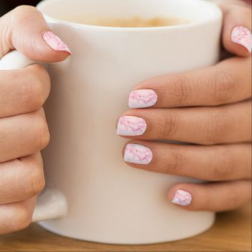 Chic elegant light pink marble minx nail wraps