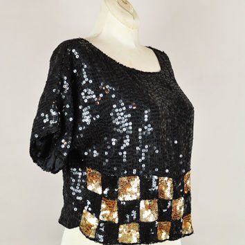 1980s black & gold silk checkerboard sequin beaded oversized draped party blouse top vintage