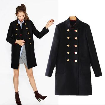 One-nice™ Long military uniform style of woolen cloth coat