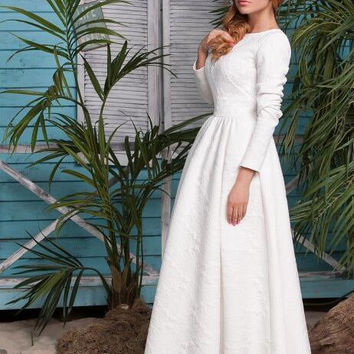 White Long Sleeve Maxi Dress