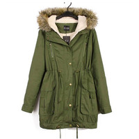 Army green Womens Winter Thicken Fleece Zip Casual Parka Long Jacket Overcoat