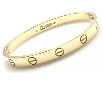 Authentic! CARTIER 18k Yellow Gold Love Bangle Bracelet Size 16 Certificate Box