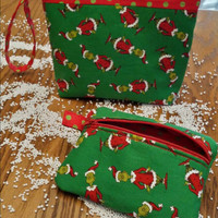 Grinch Wristlet Handbag Purse Custom Designs by Sugarbear GRINCHLET Bag Matching Make Up Bag Avail Too! Grinchy Fun & Beautiful Gift !