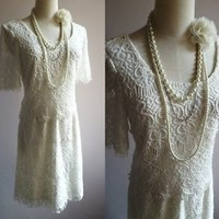 Art Deco 1920s Vintage Flapper Maiden Lace Gatsby Bohemian Dress - S