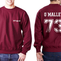 O`Malley 73 White Ink on Back Greys Anatomy Logo Pocket on Front Unisex Crewneck Sweatshirt