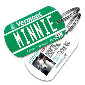 Vermont License Plate Pet Tag