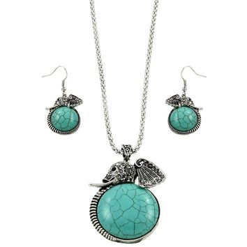 Turquoise Elephant Necklace and Earrings
