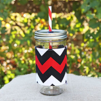 Mason Jar Tumbler 24oz | Red Black Chevron | Crimson Black Chevron | Free Personalization