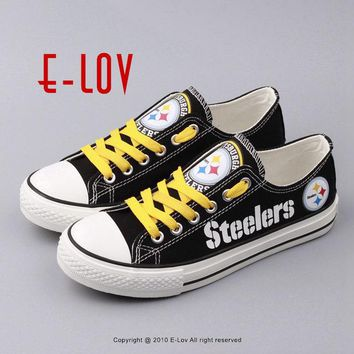New Design Black Shoes Pittsburgh Steelers USA Star Gift Football Print Shoes Canvas Shoe Boy Men Fans Flats Shoes Free Shipping