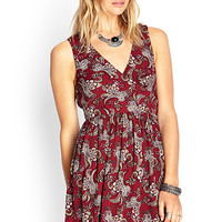 FOREVER 21 Paisley Print Tie-Back Dress Burgundy/Cream