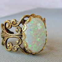 Adjustable Opal Ring by pinkingedgedesigns on Etsy