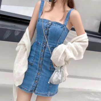 Spring and summer women's new denim skirt college wind Slim single row denim dress