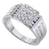 Diamond Cluster Mens Ring in 10k White Gold 0.25 ctw