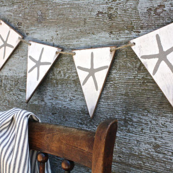 FREE SHIP Wood Starfish Beach House Banner Rustic Pennant Garland Tags Signs