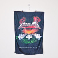 90s Metallica Poster Metallica Master Of Puppets Poster Music Metal Band Album CD Large Black Fabric Poster Cloth Poster Flag Wall Hanging