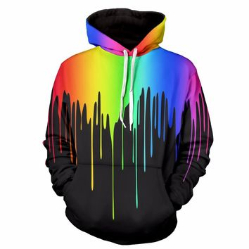 Graffiti Print Rainbow Drip Graphic Unisex Hoodies