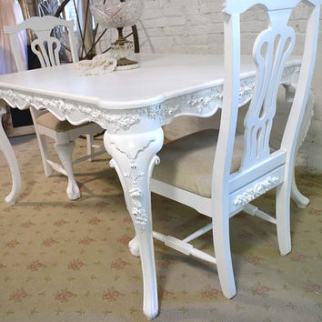 Dining Table Painted Cottage Chic Shabby White French Dining Table TBL92