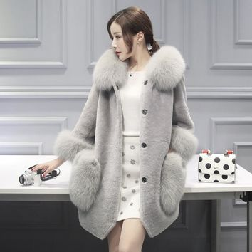 Imitation Fur Coat Women Silver Fox Fur Collar Hooded Trench Coat Mink Fur Jacket Double Pockets Overcoat Plus Size Winter