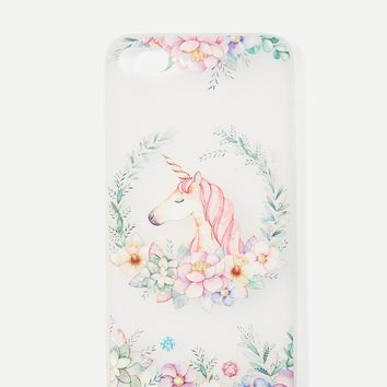 Flower & Horse Print iPhone Case