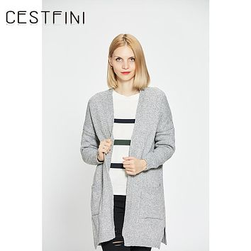 CESTFINI Gray Khaki Cardigan Women Sweater Casual Crochet Poncho Plus Size Coat Women long Sweaters vestidos Cardigans #SW001