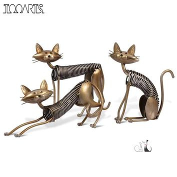 Three Spring Cats Iron Sculpture Decorative Ornament