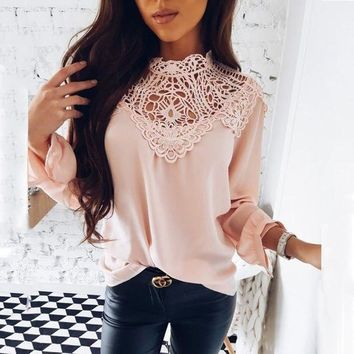 DCCK 2019 Spring New Women's Hot Sale Casual Long-Sleeved O-neck Elegant Ladies Shirt Chiffon Shirt Vintage Lace Party Female Blouse