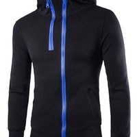jeansian Men's Casual Sport Zipper Hoodie Pullover Sweatshirt Outwear Tops 9338