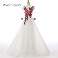 Vivian's Bridal White Tulle Evening Dress Long Sleeve Flower Beadings Formal Evening Gown