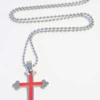 Red Enamel Budded Cross Pendant Necklace Stainless Steel Unisex Jewelry Religious Fashion Accessories
