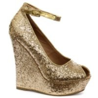 Glitterati Gold Glitter Womens Peep Toe Platform Wedge Shoes