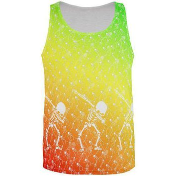 PEAPGQ9 Cinco De Mayo Dancing Dabbing Skeletons All Over Mens Tank Top
