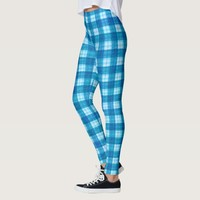 Blue Checkers Plaid Pattern Leggings