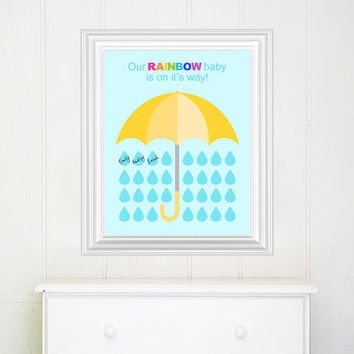 Baby Shower guest book alternative, Baby Shower Decoration, Baby shower sign, Rainbow Baby, DIY PRINTABLE FILE