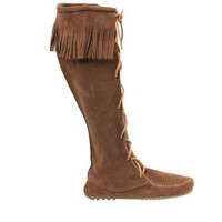 Minnetonka Knee High Moccassin - Dusty Brown Suede Boot